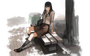 Rating: Safe Score: 24 Tags: black_hair bow gray_eyes kneehighs long_hair original school_uniform skirt socks tree User: Oyashiro-sama