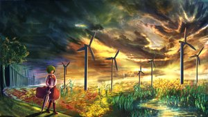 Rating: Safe Score: 86 Tags: boots clouds e_sora grass green_hair kazami_yuuka scenic short_hair skirt sky sunset touhou tree umbrella water windmill User: Flandre93