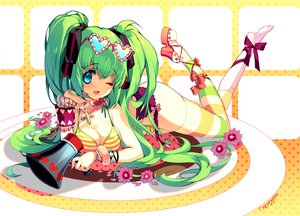 Rating: Safe Score: 74 Tags: aqua_eyes bikini breasts cherrypin cleavage cross flowers green_hair hatsune_miku long_hair necklace signed swimsuit thighhighs twintails vocaloid User: HawthorneKitty