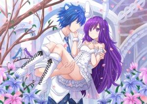 Rating: Safe Score: 75 Tags: animal_ears bunny_ears bunnygirl dress kazenokaze male original purple_hair wedding wedding_attire User: gnarf1975