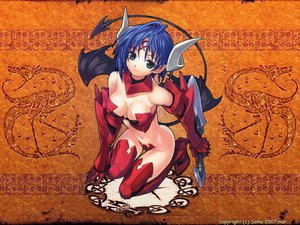 Rating: Questionable Score: 76 Tags: armor blue_hair breasts cleavage gray_eyes horns matsuryuu navel pointed_ears sword tail thighhighs weapon wings User: Oyashiro-sama