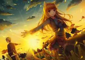 Rating: Safe Score: 85 Tags: animal_ears craft_lawrence horo male ookami_to_koushinryou stripe_(artist) sunset tail wolfgirl User: RyuZU