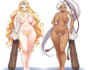 Rating: Questionable Score: 37 Tags: 2girls aqua_eyes barefoot blonde_hair breasts cropped dark_skin headdress long_hair maple_story navel nestkeeper nipples nude ponytail pubic_hair weapon white white_hair User: otaku_emmy