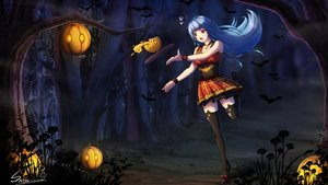 Rating: Safe Score: 22 Tags: animal anthropomorphism aqua_hair bat cross fang forest halloween necklace night pumpkin quincy red_eyes signed skirt snow_(12065805) thighhighs tree zhanjian_shaonu User: RyuZU