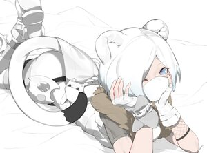 Rating: Safe Score: 35 Tags: animal_ears arknights blue_eyes fui_(fui29493452) gloves mask ninja polychromatic shirayuki_(arknights) short_hair tail white_hair wink User: Nepcoheart