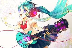 Rating: Safe Score: 59 Tags: aqua_hair crying czc_(deko) guitar hatsune_miku headphones instrument twintails vocaloid User: HawthorneKitty