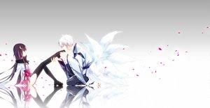 Rating: Safe Score: 77 Tags: gradient horns inu_x_boku_ss male miketsukami_soushi multiple_tails nishina petals shirakiin_ririchiyo tail thighhighs User: Wiresetc