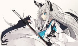 Rating: Safe Score: 94 Tags: animal_ears anthropomorphism azur_lane blue_eyes foxgirl gloves gray_hair japanese_clothes kawakaze_(azur_lane) long_hair nagishiro_mito sword weapon User: RyuZU