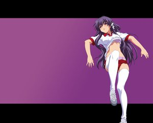 Rating: Questionable Score: 38 Tags: bloomers bra clannad fujibayashi_kyou gym_uniform long_hair panties purple_eyes purple_hair thighhighs underwear User: 秀悟