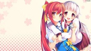 """Rating: Safe Score: 174 Tags: 2girls akatsuki_arisa ano_harewataru_sora_yori_takaku blush chiri_(atlanta) chuablesoft crossover gray_hair headband himekami_ayame long_hair pink red_eyes red_hair ribbons seifuku skirt watashi_ga_suki_nara_""""suki""""_tte_itte! User: Wiresetc"""