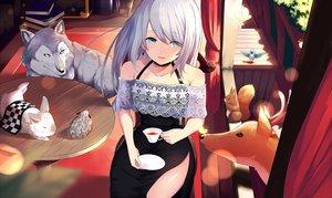 Rating: Safe Score: 59 Tags: animal aqua_eyes bird book butterfly dress drink long_hair original rabbit white_hair wolf yamato_(muchuu_paradigm) User: BattlequeenYume