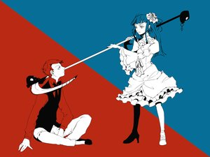 Rating: Safe Score: 28 Tags: 35_(pixiv) blue_hair bow dress furudo_erika long_hair male polychromatic red_hair scythe short_hair skull tie twintails umineko_no_naku_koro_ni ushiromiya_battler weapon User: noitis