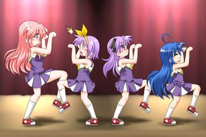 Rating: Safe Score: 64 Tags: blue_hair headband hiiragi_kagami hiiragi_tsukasa izumi_konata long_hair lucky_star parody pink_hair purple_hair short_hair socks takara_miyuki taketsu User: HawthorneKitty