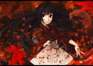 Rating: Safe Score: 46 Tags: autumn ayaki black_hair fan japanese_clothes kimono leaves long_hair original red_eyes User: HawthorneKitty