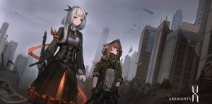 Rating: Safe Score: 74 Tags: arknights building city gloves gray_eyes gray_hair heibaise_jiangshi sword weapon User: RyuZU