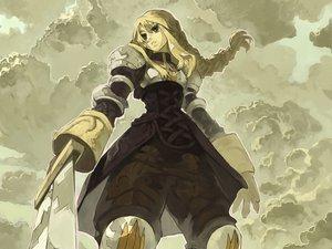 Rating: Safe Score: 34 Tags: agrias_oaks armor blonde_hair bob_(biyonbiyon) braids clouds final_fantasy final_fantasy_tactics long_hair sky sword weapon User: 秀悟