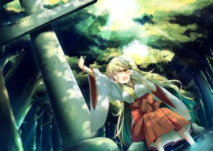 Rating: Safe Score: 60 Tags: blonde_hair blush dress forest hoshii_miki idolmaster japanese_clothes long_hair miko tree water wink yamucha yellow_eyes User: Maboroshi