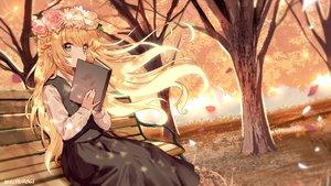 Rating: Safe Score: 46 Tags: autumn blonde_hair book braids flowers headdress leaves long_hair mechuragi original signed tree User: BattlequeenYume