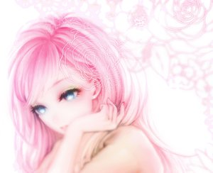 Rating: Safe Score: 99 Tags: blue_eyes close flowers megurine_luka ohagi_(ymnky) pink_hair vocaloid User: opai