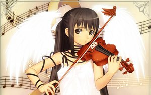 Rating: Safe Score: 107 Tags: brown_eyes brown_hair instrument long_hair original ribbons taka_tony twintails violin wings User: garypan