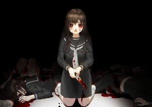Rating: Safe Score: 50 Tags: black blood brown_hair crying hanjuku_otome kneehighs knife long_hair original red_eyes school_uniform skirt tears User: sadodere-chan