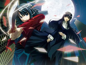 Rating: Safe Score: 23 Tags: asagami_fujino k2pudding kara_no_kyoukai knife moon night ryougi_shiki User: HawthorneKitty