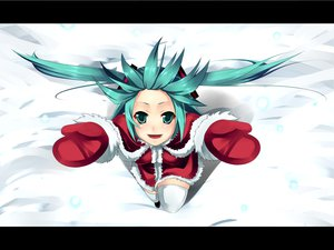 Rating: Safe Score: 59 Tags: aoinagi aqua_eyes aqua_hair christmas gloves hatsune_miku santa_costume snow thighhighs twintails vocaloid User: HawthorneKitty