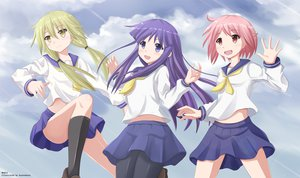 Rating: Safe Score: 51 Tags: blonde_hair clouds hinata_yukari ichii_yui kazenokaze kneehighs long_hair nonohara_yuzuko purple_eyes purple_hair red_eyes red_hair seifuku short_hair sky stockings yellow_eyes yuyushiki User: Stealthbird97
