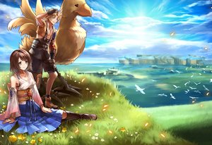 Rating: Safe Score: 19 Tags: animal bird blonde_hair boots brown_hair chocobo clouds final_fantasy final_fantasy_x flowers gloves grass green_eyes japanese_clothes male necklace sasanomesi short_hair skirt sky tidus water wristwear yuna_(ffx) User: otaku_emmy