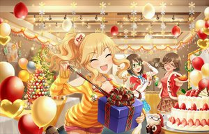 Rating: Safe Score: 29 Tags: blonde_hair blush breasts brown_eyes brown_hair cake cape christmas food fruit glasses hat honda_mio idolmaster idolmaster_cinderella_girls kamijou_haruna long_hair necklace ootsuki_yui santa_costume santa_hat short_hair shorts skirt stars tagme_(artist) tree User: RyuZU