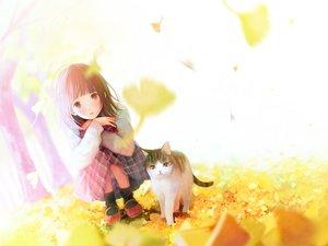 Rating: Safe Score: 69 Tags: animal autumn brown_eyes brown_hair cat hinata_(lipcream) leaves original short_hair skirt User: RyuZU