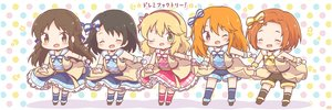 Rating: Safe Score: 22 Tags: black_hair blonde_hair bow braids brown_eyes brown_hair chibi choker dress green_eyes group headband idolmaster idolmaster_cinderella_girls idolmaster_cinderella_girls_starlight_stage kneehighs lolita_fashion long_hair microphone mitarashi_neko orange_hair pink_eyes ryuuzaki_kaoru sakurai_momoka sasaki_chie school_uniform short_hair shorts tachibana_arisu uniform wink wristwear yuuki_haru User: otaku_emmy