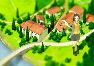 Rating: Safe Score: 41 Tags: blush boots brown_eyes brown_hair building grass landscape original scenic short_hair tanaha tree water User: STORM
