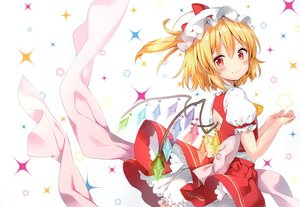 Rating: Safe Score: 88 Tags: blonde_hair bloomers blush dress flandre_scarlet hat ponytail red_eyes riichu scan short_hair stars touhou vampire wings User: BattlequeenYume