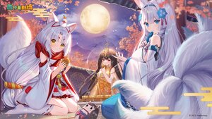 Rating: Safe Score: 41 Tags: animal_ears aqua_eyes brown_hair cat_smile clouds clover_theater flowers food foxgirl gejigejier gray_hair headband japanese_clothes logo long_hair moon multiple_tails night red_eyes sky stars tagme_(character) tail yellow_eyes User: BattlequeenYume
