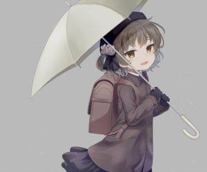 Rating: Safe Score: 32 Tags: brown_eyes brown_hair gloves gray hat hatoba_tsugu hatoba_tsugu_(channel) komachi_pochi loli short_hair skirt umbrella User: FormX
