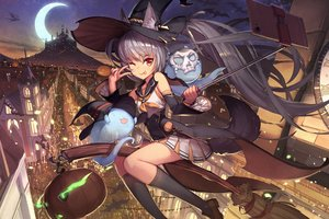 Rating: Safe Score: 85 Tags: animal animal_ears bat building city dragon dress gray_hair halloween hat kneehighs long_hair moon night orange_eyes original ponytail pumpkin sky tagme_(artist) tail wink witch witch_hat User: BattlequeenYume