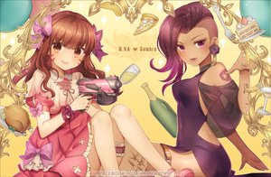 Rating: Safe Score: 18 Tags: 2girls atobesakunolove bow brown_eyes brown_hair cape dress drink food fruit long_hair overwatch purple_hair ribbons short_hair sombra strawberry tattoo tracer watermark User: RyuZU
