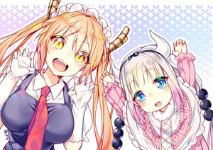 Rating: Safe Score: 109 Tags: 2girls aqua_eyes breasts fang gloves headdress horns kamui_kanna kobayashi-san_chi_no_maid_dragon loli long_hair maid orange_eyes orange_hair signed tagme_(artist) tie tooru_(maidragon) twintails white_hair User: otaku_emmy