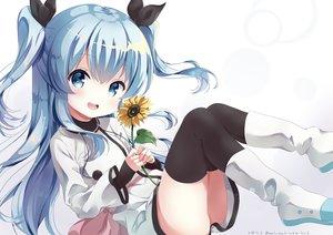 Rating: Safe Score: 64 Tags: blue_eyes blue_hair dress flowers loli long_hair neki_(wakiko) noel_(sora_no_method) signed sora_no_method sunflower thighhighs twintails User: BattlequeenYume