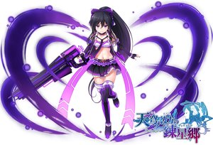 Rating: Safe Score: 67 Tags: black_hair boots gun komimiyako logo long_hair navel ponytail purple_eyes skirt sora_no_kanata_no_dystopia tie weapon zettai_ryouiki User: RyuZU