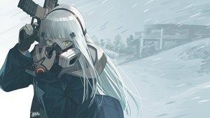 Rating: Safe Score: 69 Tags: anthropomorphism girls_frontline gloves gray_hair green_eyes gun hk416_(girls_frontline) long_hair mask seyana signed snow weapon User: Nepcoheart