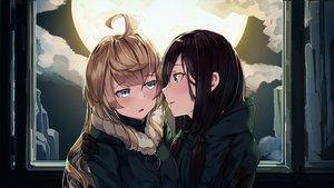 Rating: Safe Score: 68 Tags: 2girls black_hair blonde_hair chito clouds kiss long_hair military moon natori_youkai shoujo_ai shoujo_shuumatsu_ryoukou sky uniform yuuri User: RyuZU