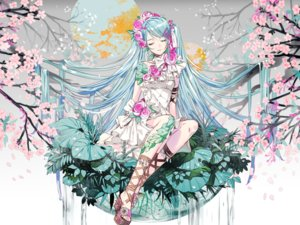 Rating: Safe Score: 25 Tags: blue_hair cherry_blossoms dress flowers hatsune_miku headdress leaves long_hair tagme_(artist) vocaloid water waterfall User: otaku_emmy
