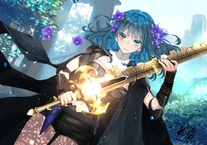 Rating: Safe Score: 39 Tags: armor blush byleth_(female) cape fire_emblem flowers green_eyes green_hair kero_sweet navel shorts signed sword weapon User: BattlequeenYume