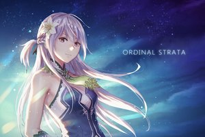 Rating: Safe Score: 71 Tags: anbe_yoshirou azucena braids flowers gray_hair long_hair night ordinal_strata pink_eyes sky stars User: BattlequeenYume