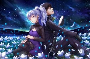 Rating: Safe Score: 92 Tags: animal black_eyes breasts brown_hair cat choker choukoukou_no_diaosi cleavage clouds darker_than_black dress flowers gloves gray_hair hei long_hair male mao_(darker_than_black) mask night ponytail purple_eyes ribbons short_hair sky stars sword thighhighs weapon yin User: mattiasc02