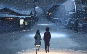 Rating: Safe Score: 112 Tags: black_hair byousoku_5_centimetre car jpeg_artifacts night shinohara_akari snow toono_takaki User: 02