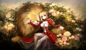 Rating: Safe Score: 77 Tags: animal blonde_hair breasts cleavage fate/extra fate/grand_order fate_(series) flowers green_eyes lion meaomao rose saber_extra User: Flandre93