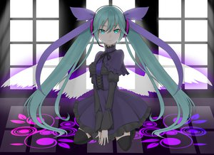 Rating: Safe Score: 75 Tags: bow dress hatsune_miku headphones long_hair puchiman thighhighs twintails vocaloid wings User: HawthorneKitty